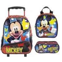 Mochila Escolar Mickey Mouse Xeryus de Rodinhas com Lancheira e Estojo Tam G