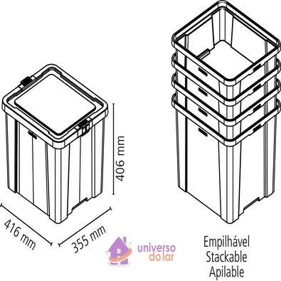 Caixa Organizadora 42L Transparente Basic Tramontina