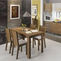 Conjunto Sala de Jantar, Madesa, Rosie,Mesa Tampo de Madeira com 4 Cadeiras Rustic/Crema/Pérola Cor:Rustic/Crema/Pérola