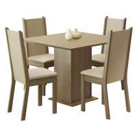 Conjunto Sala de Jantar Alana Madesa, Mesa Tampo de Madeira, 4 Cadeiras,  Rustic/Crema/Pérola