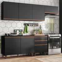 Cozinha Completa Madesa Reims 250002 com Armário e Balcão - Preto Cor:Preto