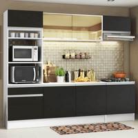 Cozinha Completa Madesa Diamante com Armário, Balcão e Tampo Branco/Preto Cor:Branco/Preto