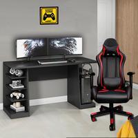 Kit Bela Mesa Gamer XP + Cadeira Gamer MoobX Thunder Deluxe, Preto