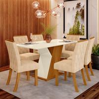 Conjunto Sala de Jantar Lupita 6 Cadeiras Estofadas e Mesa com Tampo MDF