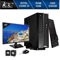 Mini Computador ICC SL2347Km15 Intel Core I3 4gb HD 240GB SSD Kit Multimídia Monitor 15 Windows 10