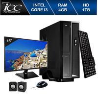 Mini Computador ICC SL2342Km15 Intel Core I3 4gb HD 1TB Kit Multimídia Monitor 15 Windows 10