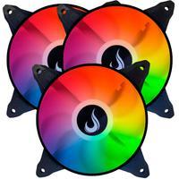 Kit com 3 Cooler Fan Led RGB 120mm Rise Mode Aqua - Rm-mb-03-12v