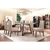 Conjunto Sala de Jantar com Mesa Safira 180cm e 6 Cadeiras Rufato com Vidro