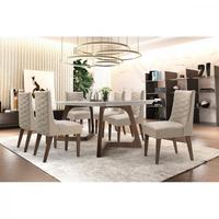 Conjunto Sala de Jantar com Mesa Safira 180cm com 6 Cadeiras Rufato