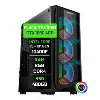 Computador Gamer Fácil Intel Core i5 10400f, 8GB, GTX 1650 4GB, SSD 480GB, Fonte 500W