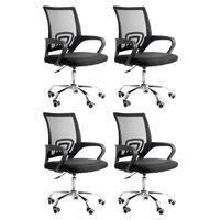Conjunto Bela Com 4 Cadeiras Diretor Madri Tela Para Sala De Reunião