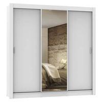 Guarda Roupa Casal Madesa Lyon 3 Portas de Correr com Espelho 2 Gavetas Branco Cor:Branco