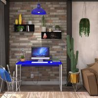 Mesa Em Metal Com Tampo De Aço Colorido   Tam: 80x60cm   Cor: Azul E Branco
