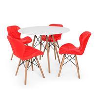 Kit Mesa Jantar Eiffel 80cm Branca + 04 Cadeiras Slim - Vermelha