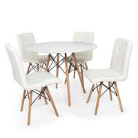 Kit Mesa Jantar Eiffel 100cm Branca + 04 Cadeiras Gomos - Branca