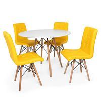 Kit Mesa Jantar Eiffel 90cm Branca + 04 Cadeiras Gomos - Amarela