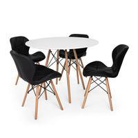 Kit Mesa Jantar Eiffel 90cm Branca + 04 Cadeiras Slim - Preta