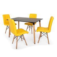 Kit Mesa Jantar Eiffel 120x80 Preta + 4 Cadeiras Eiffel Gomos Estofada - Amarela