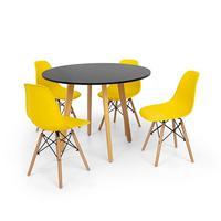 Conjunto Mesa De Jantar Laura 100cm Preta Com 4 Cadeiras Charles Eames - Amarela