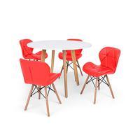 Conjunto Mesa De Jantar Laura 100cm Branca Com 4 Cadeiras Eames Eiffel Slim - Vermelha