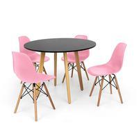 Conjunto Mesa De Jantar Laura 100cm Preta Com 4 Cadeiras Charles Eames - Rosa