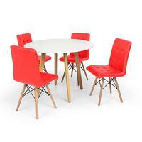 Conjunto Mesa De Jantar Laura 100cm Branca Com 4 Cadeiras Eiffel Gomos - Vermelha