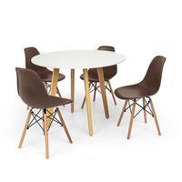 Conjunto Mesa De Jantar Laura 100cm Branca Com 4 Cadeiras Charles Eames - Marrom
