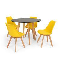 Conjunto Mesa De Jantar Laura 100cm Preta Com 4 Cadeiras Eames Wood Leda - Amarela