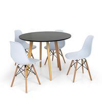 Conjunto Mesa De Jantar Laura 100cm Preta Com 4 Cadeiras Charles Eames - Branca
