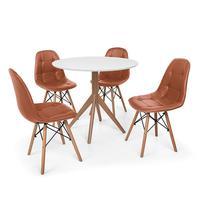Conjunto Mesa De Jantar Maitê 80cm Branca Com 4 Cadeiras Charles Eames Botonê - Marrom