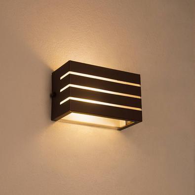 Arandela Frisada Luminaria Marrom Para Muro Parede Externa G9