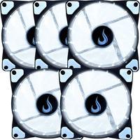 Kit Com 5 Cooler - Fan Rise Mode,  120mm, Led Branco - Rm-wn-01-bw
