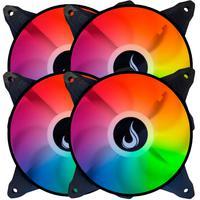Kit 4x Cooler Fan, Led Rgb, 120mm, Rise Mode, Aqua - RM-MB-03-12V