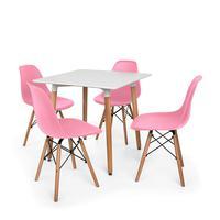 Kit Mesa Jantar Eiffel 80x80 Branca + 04 Cadeiras Charles Eames - Rosa