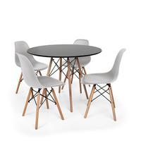 Kit Mesa Jantar Eiffel 120cm Preta + 4 Cadeiras Charles Eames - Cinza