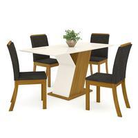 Conjunto Sala De Jantar Mesa Tampo Mdf 4 Cadeiras Kesha Casa 812