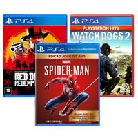 Combo De Jogos Ps4 - Spider Man Goty + Watch Dogs 2 + Red Dead Redemption 2