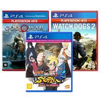 Combo De Jogos Ps4 - Naruto Ultimate Ninja 4 Road To Boruto + God Of War + Watch Dogs 2