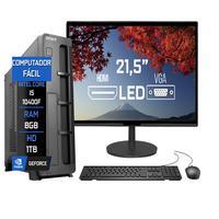 """Computador Fácil Slim Completo Intel Core I5 10400F Décima Geração, 8GB DDR4, HD 1TB, Monitor 21.5"""" Led, HDMI"""