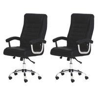 Kit 2 Cadeiras De Escritório Presidente Executiva Big Com Molas Ensacadas Confortável Giratória - Preto
