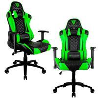 Kit 02 Cadeiras Gamer Office Giratória Com Elevação A Gás Tgc12 H01 Preto Verde - Thunderx3