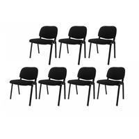 Kit Com 7 Cadeiras Secretária Em Tecido Pel-304f Pretas Empilháveis