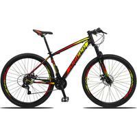 Bicicleta Aro 29 Dropp Z3 21v Shimano, Suspensão Freio Disco - Preto/amarelo E Vermelho - 17''