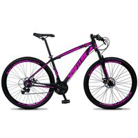 Bicicleta Aro 29 Spaceline Vega 21v Suspensão E Freio Disco - Preto/rosa - 17''