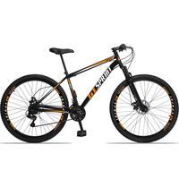 Bicicleta Aro 29 Gt Sprint Mx1. 21v Freio Disco E Suspensão - Preto/laranja E Branco - 17''