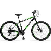 Bicicleta Aro 29 Gt Sprint Mx1. 21v Garfo Rigido Freio Disco - Preto/verde E Branco - 17''