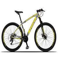 Bicicleta Aro 29 Dropp Z3x 21v Suspensão E Freio Disco - Cinza/amarelo - 15''