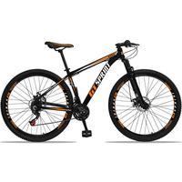 Bicicleta Aro 29 Gt Sprint Mx1 21v Suspensão E Freio A Disco - Preto/laranja E Branco - 21´´ - 21´´