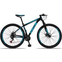 Bicicleta Aro 29 Spaceline Orion 21v Suspensão Freio A Disco - Preto/azul - 21´´ - 21´´