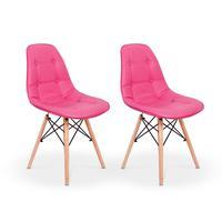 Kit 02 Cadeiras Dkr Charles Eames Wood Estofada Botonê - Rosa